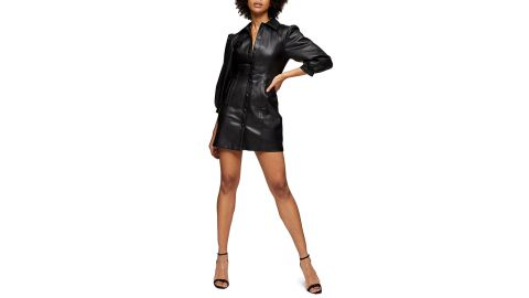 Topshop Long Sleeve Faux Leather Shirtdress