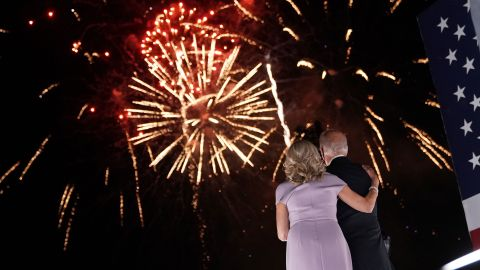 Former Vice President Joe Biden, Democratic presidential nominee, right, and wife Jill Biden watch fireworks outside the Chase Center during the Democratic National Convention in Wilmington, Delaware, U.S., on Thursday, Aug. 20, 2020. Biden accepted the Democratic nomination to challenge President Donald Trump, urging Americans in a prime-time address to vote for new national leadership that will overcome deep U.S. political divisions. Photographer: Stefani Reynolds/Bloomberg via Getty Images