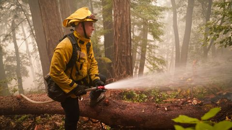 Karol Markowski of the South Pasadena Fire Department hoses down hot spots while battling the CZU Lightning Complex fires in Boulder Creek, California, on August 22.