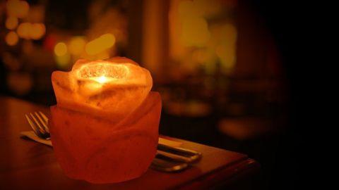 Himalayan Salt Rose Flower Shape Tealight Candle Holder