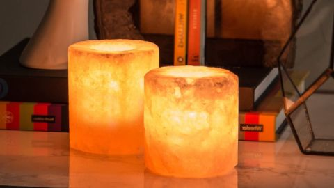 Crystal Allies Natural Tall Himalayan Salt Candle Holders
