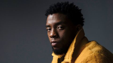 """In this Feb. 14, 2018 photo, actor Chadwick Boseman poses for a portrait in New York to promote his film, """"Black Panther.""""  Boseman, who played Black icons Jackie Robinson and James Brown before finding fame as the regal Black Panther in the Marvel cinematic universe, has died of cancer. His representative says Boseman died Friday, Aug. 28, 2020 in Los Angeles after a four-year battle with colon cancer. He was 43."""