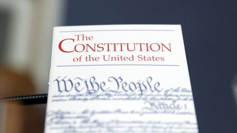 A copy of the US Constitution is propped up in front of the desk of Rep. Alcee Hastings (D-FL) during a House Rules Committee hearing on the impeachment against President Donald Trump on December 17, 2019, in Washington, DC.
