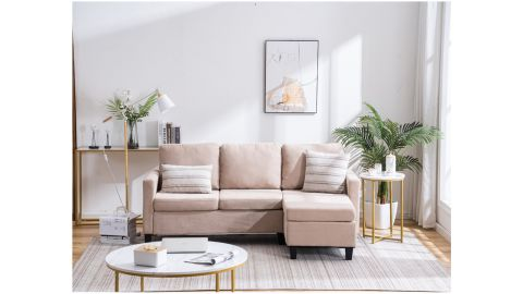 Zimtown Reversible Sectional Sofa Couch With Reversible Chaise