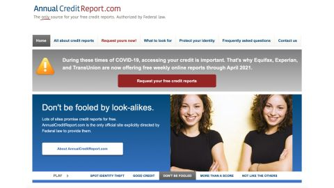 Make sure you're using the right website when requesting your free annual credit report.