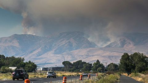 Haze and smoke blanket the sky near Naches, Washington, as the Evans Canyon Fire burns on September 3.