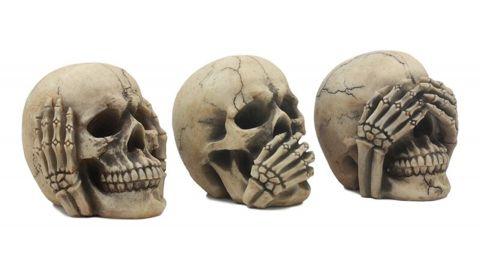 World Menagerie Three-Piece Gothic Skulls Figurine Set