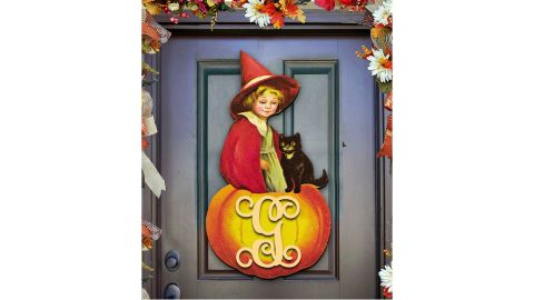 AMonogram Art Unlimited Child and Black Cat on a Pumpkin Wooden Wall Decor