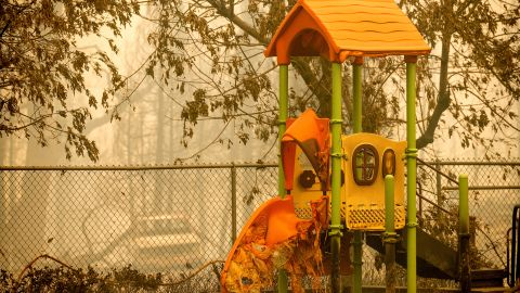 A slide is melted at a school playground in Fresno County.