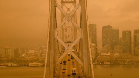Wildfire smoke hangs over the San Francisco-Oakland Bay Bridge on September 9.