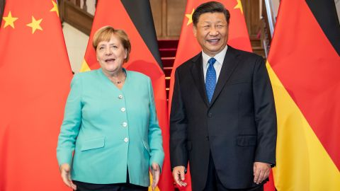 06 September 2019, China, Peking: Federal Chancellor Angela Merkel (CDU) is greeted in the Zijin Guest House by Xi Jinping, President of the People's Republic of China, before the start of a four-eyed discussion. Merkel is on a two-day visit to the People's Republic of China. Photo by: Michael Kappeler/picture-alliance/dpa/AP Images
