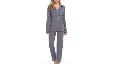 Ekouaer Pajamas Set Long Sleeve Sleepwear
