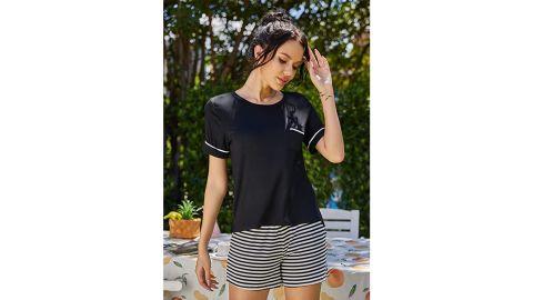 Ekouaer Striped Short Sleeve Sleepwear Set