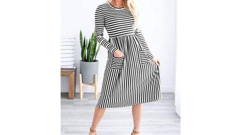 Merokeety Women's T-Shirt Midi Dress With Pockets