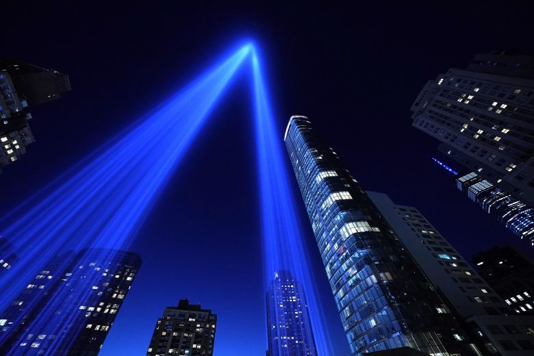 TOPSHOT - The Tribute in Light art installation shines into the sky over Manhattan on September 11, 2020 in New York to mark the 19th anniversary of the 9/11 attacks. (Photo by TIMOTHY A. CLARY / AFP) (Photo by TIMOTHY A. CLARY/AFP via Getty Images)