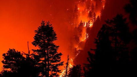 The Bobcat Fire burns near Cedar Springs, California, on September 21.