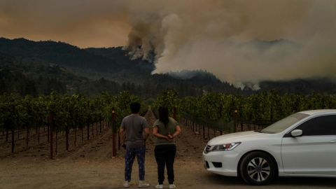 The Glass Fire burns on a Napa County mountainside on September 28.
