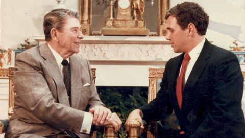 Pence meets with President Ronald Reagan while running for Congress in 1988. He lost that race and another one in 1990. After his second loss, Pence became president of the Indiana Policy Review Foundation, a conservative think tank. From 1993-1999, he hosted a syndicated talk radio show in which he described himself as Rush Limbaugh on decaf.