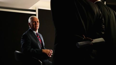 Pence prepares for an interview prior to the start of the fourth day of the Republican National Convention in July 2016.