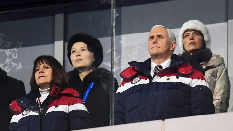 Pence and his wife, Karen, attend the opening ceremony of the Winter Olympics in Pyeongchang, South Korea, in February 2018. Kim Yo Jong, the sister of North Korean leader Kim Jong Un, is seated at back left.