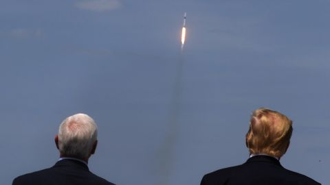Pence and Trump watch the launch of a SpaceX Falcon 9 rocket in May 2020. It marked the first time in history that a commercial aerospace company carried humans into Earth's orbit.