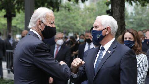 Pence greets his predecessor, Joe Biden, during a 9/11 memorial service in New York in September 2020. Biden is also the Democratic Party's presidential nominee.