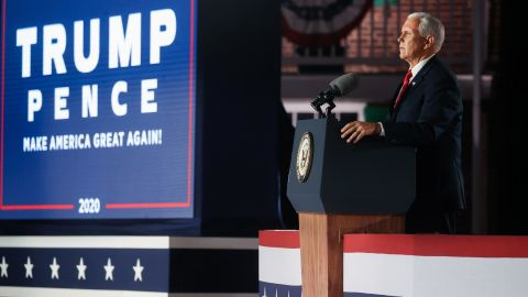 Pence accepts the vice presidential nomination at the Republican National Convention in August 2020.