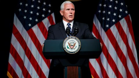 Vice President Mike Pence speaks at the Pentagon in August 2018. He was calling for the establishment of a Space Force as a sixth branch of the US Armed Forces.