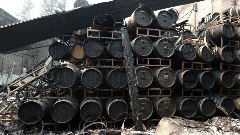 Damaged wine barrels sit stacked at the Fairwinds Estate Winery in Calistoga on September 29.