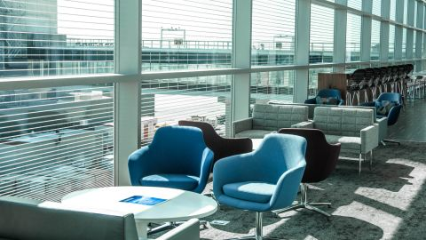 There are many seating options in this primary seating area on the upper level of the lounge.