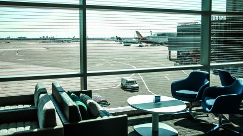 You can watch all the activity at Terminal 4 while sitting in the lower floor seating area.