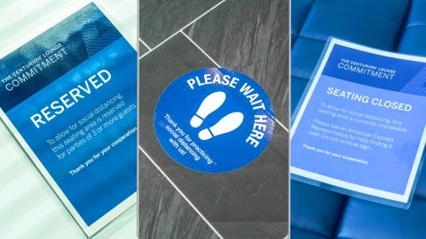 Signage throughout the JFK Centurion Lounge will keep guests apart during the pandemic.