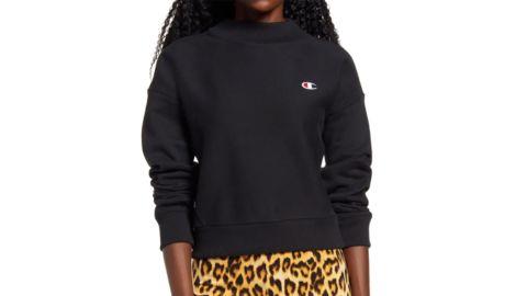 Champion Mock Neck Reverse Panel Crop Sweatshirt
