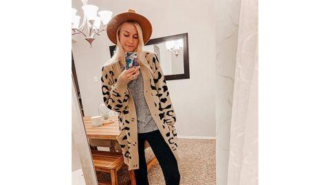 Zesica Open-Front Leopard Print Cardigan