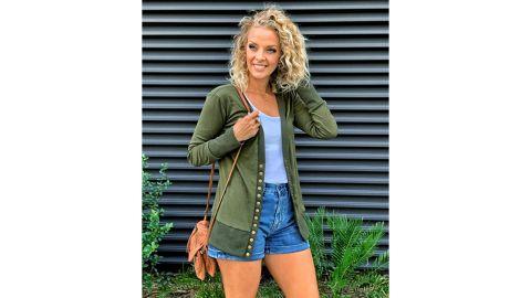 Nenona V-Neck Button-Down Knit Cardigan