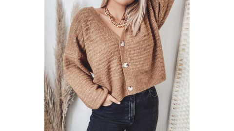 Prologue Puff Button-Front Cardigan