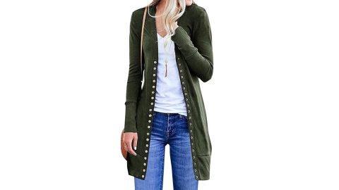Starvnc Women's Button-Down Solid Color Cardigan