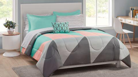 Mainstays Gray & Teal 8-Piece Bedding Set