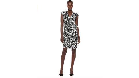 Lark & Ro Women's Classic Cap Sleeve V-Neck Compact Matte Jersey Wrap Dress