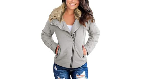 Vetinee Faux Fur Lapel Zip Pockets Quilted Parka