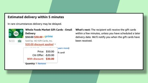 Buy a Whole Foods gift card using the discount and bank the savings for later.