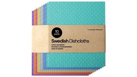 Swedish Dishcloth Cellulose Sponge Cloths, 10-Pack