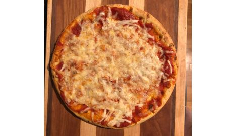 Our homemade pizza made with Banza's chickpea pizza crusts