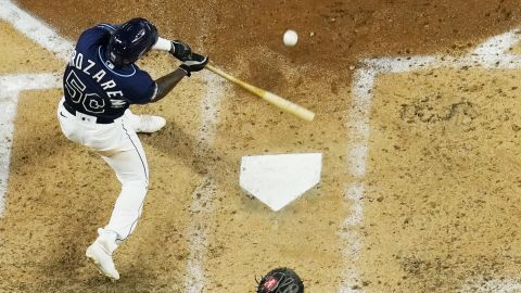 The Rays' Randy Arozarena hits a home run against the the Dodgers during the fourth inning.