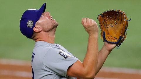Dodgers pitcher Blake Treinen exults after striking out Willy Adames of the Rays to secure the 4-2 victory in Game 5.