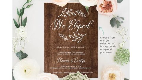 MintyPaperieShop We Eloped Invitation Template