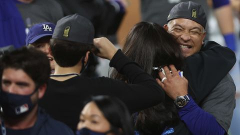Los Angeles Dodgers Manager Dave Roberts celebrates after defeating the Tampa Bay Rays.