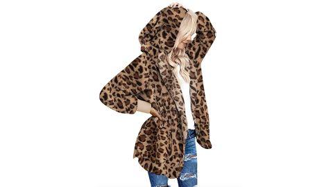Dokotoo Women's Long-Sleeve Solid Fuzzy Fleece Open-Front Hooded Cardigan