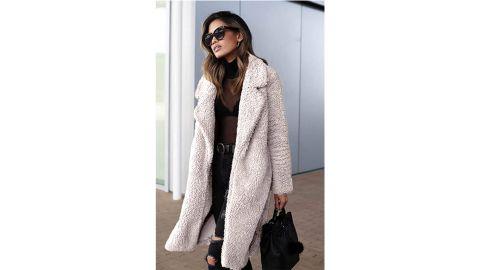 Angashion Women's Fuzzy Fleece Lapel Open-Front Long Cardigan
