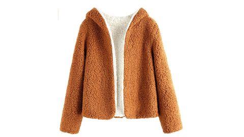 Zaful Women's Teddy Coat Fuzzy Fleece Reversible Open-Front Hooded Jacket